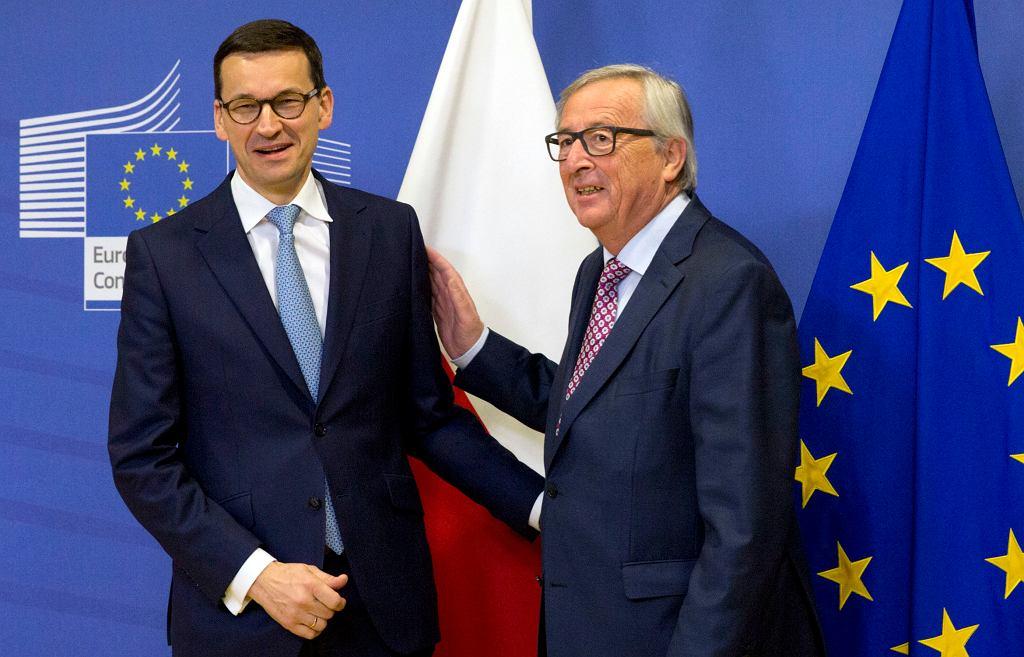 Mateusz Morawiecki i szef Komisji Europejskiej Jean-Claude Juncker. Bruksela, 9 stycznia 2018 r.