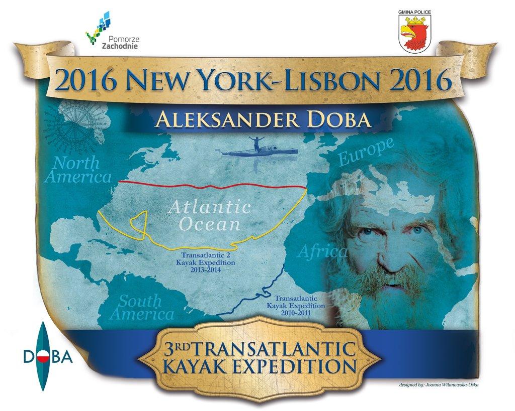 Mapa z zaznaczonymi wyprawami Aleksandra Doby