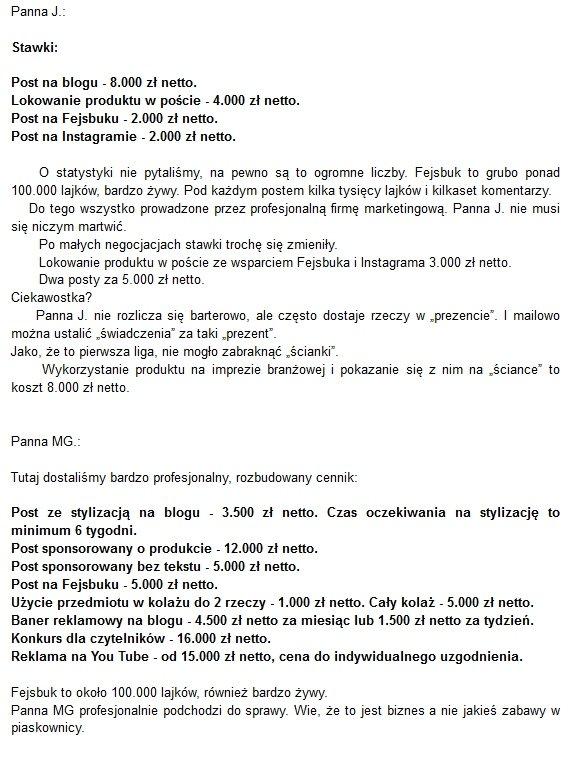 Zarobki blogerek screen http://polacyrodacy.blogspot.com/