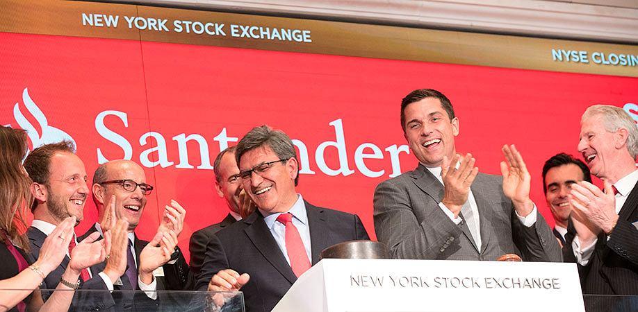 Santander świętuje 30-lecie notowań na giełdzie w Nowym Jorku, czerwiec 2017.