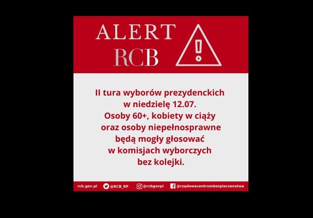 Alert RCB przed II turą wyborów prezydenckich