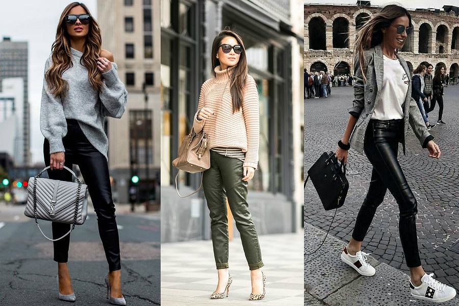 Stylizacje ze skórzanymi spodniami