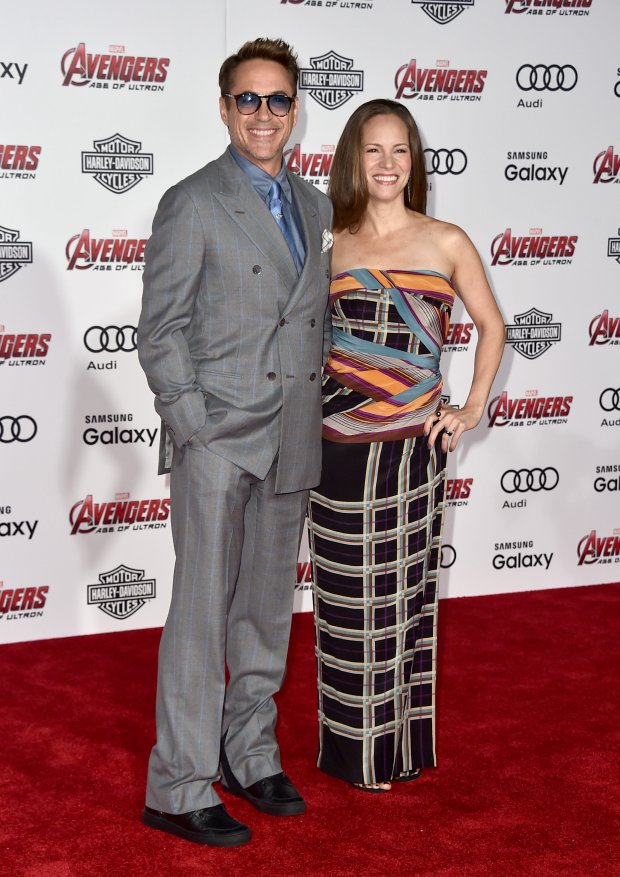 Robert Downey Jr., left, and Susan Downey arrive at the Los Angeles premiere of