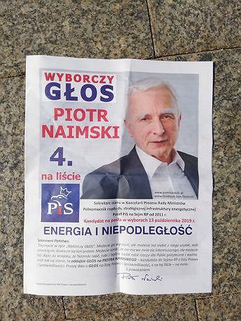 Materiały promocyjna Piotra Naimskiego rozdawane podczas obchodów 80. rocznicy wybuchu II wojny światowej.
