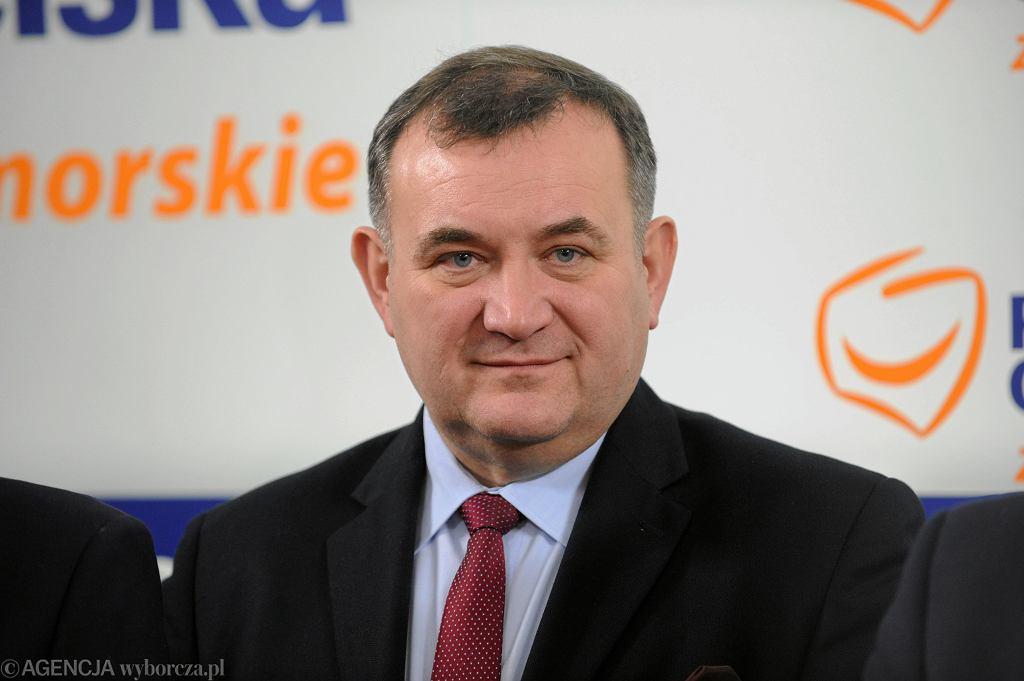 Poseł PO Stanisław Gawłowski podczas konferencji w Biurze Zarządu Zachodniopomorskiej Platformy Obywatelskiej. Szczecin, 20 listopada 2017