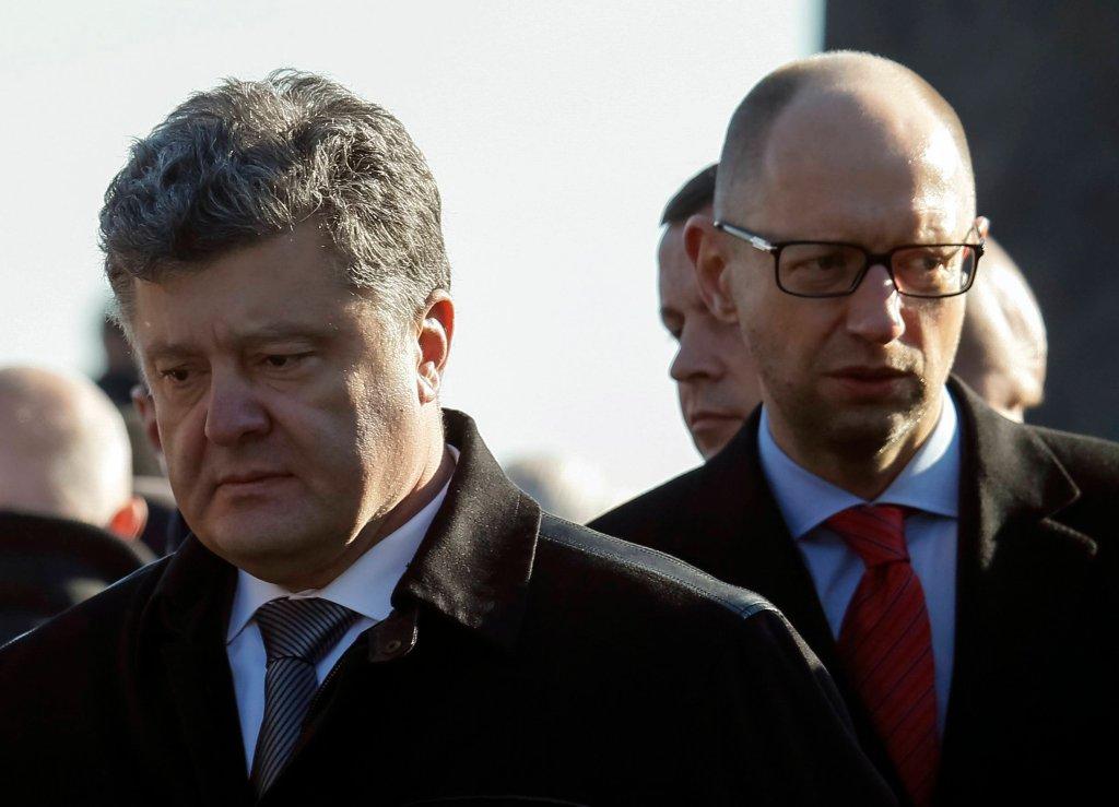 Prezydent Ukrainy Petro Poroszenko premier Arsenij Jaceniuik