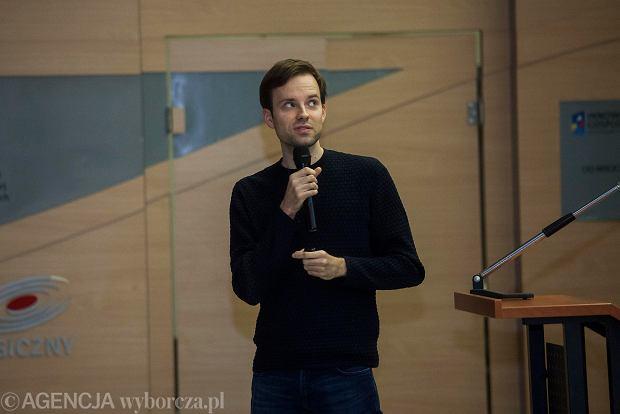 Miron Tokarski podczas spotkania z Jutronautami we Wrocławskim Parku Technologicznym we Wrocławiu