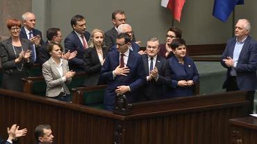 Mateusz Morawiecki tuż po odrzuceniu w głosowaniu wotum nieufności wobec jego rządu