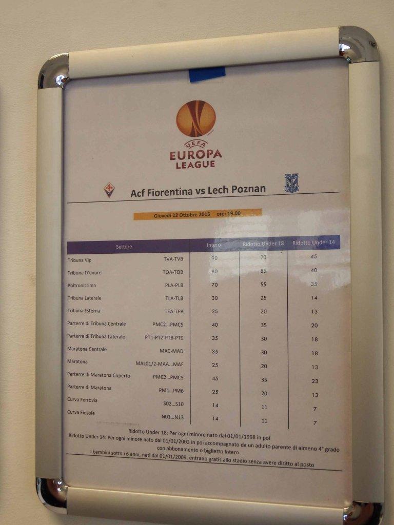 cennik biletów na mecz Fiorentina-Lech