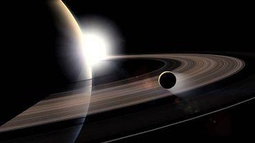 Saturn i jeden z jego księżyców, Tytan