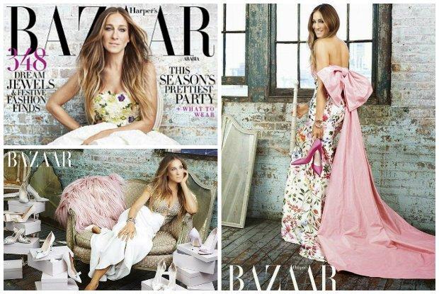 """Sarah Jessica Parker i Carrie Bradshaw mają niewiele wspólnego. Poza jednym: obie kochają buty! Swoją nową linię szpilek, kozaków i sandałów aktorka promuje w """"Harper's Bazaar Arabia"""". A wygląda... jak serialowa Carrie!"""