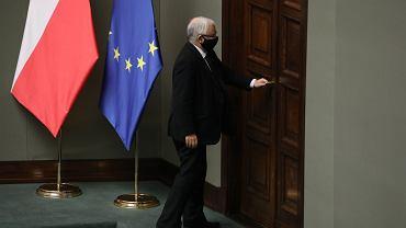 Prezes PiS Jarosław Kaczyński podczas 20. posiedzenia Sejmu X kadencji. Warszawa, 28 października 2020