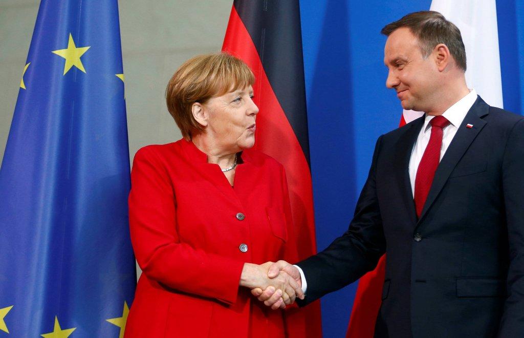 Prezydent Andrzej Duda i kanclerz Niemiec Angela Merkel podczas spotkania w Berlinie