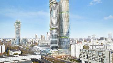 'K-Towers' vel. 'dwie wieże Kaczyńskiego' - wizualizacja biurowce, które miały stanąć przy ul. Srebrnej w Warszawie