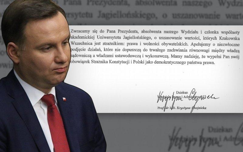 Andrzej Duda i fragment uchwały rady wydziału prawa UJ