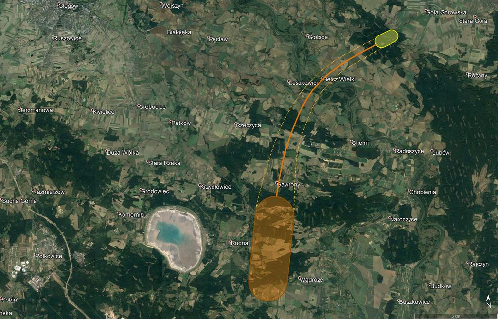 Obszar upadku meteorytów. Na pomarańczowo grupa niewielkich kamyków, na żółto obszar, którym upadła główna część kosmicznej skały