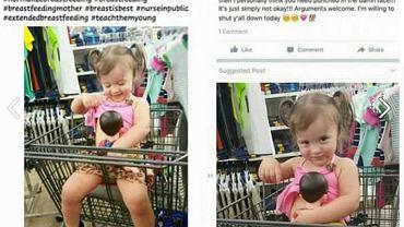 Dwulatka karmi lalkę piersią