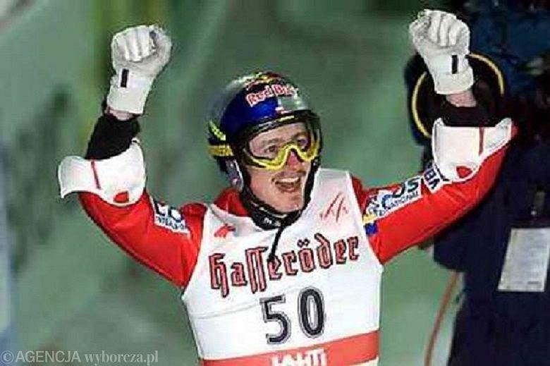 Adam Małysz świętuje triumf w Lahti