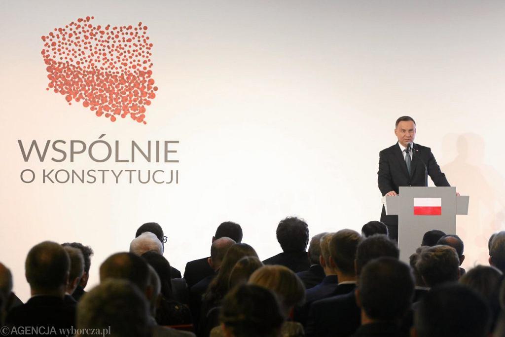 Prezydent Andrzej Ddua podczas kongresu ' Wspólnie o Konstytucji ', 26 kwietnia 2018.