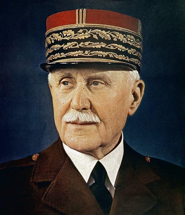 Marszałek Philippe Petain (1856-1951), bohater I wojny światowej, a w czasie II - szef zależnego od hitlerowców rządu Vichy