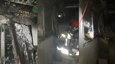 Zniszczenia po pożarze w hotelu w Solcu-Zdroju