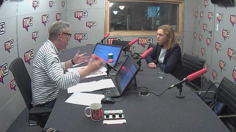 Jacek Żakowski i Barbara Nowacka w studiu TOK FM.