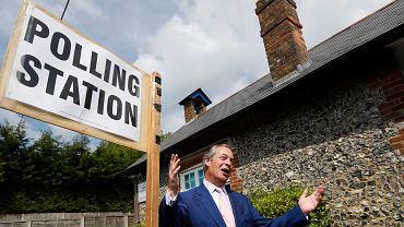 23.05.2019, Biggin Hill, Anglia, szef partii Brexit Nigel Farage po głosowaniu w wyborach do Parlamentu Europejskiego