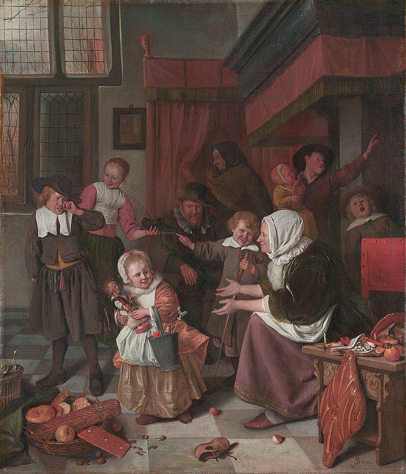 Jan Steen, Święto świętego Mikołaja, obraz olejny z XVII wieku / Domena publiczna