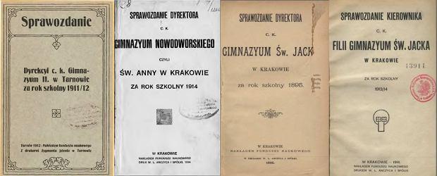 Sprawozdania dyrekcji gimnazjów - Tarnów i Kraków