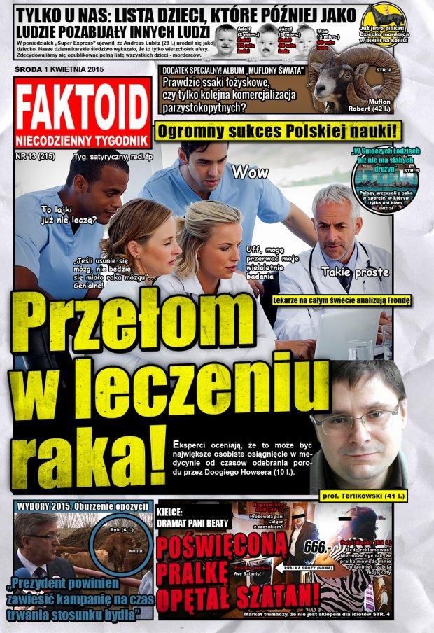 Faktoid: Przełom w leczeniu raka! -  - 1 kwietnia 2015, nr 13 (215), Faktoid