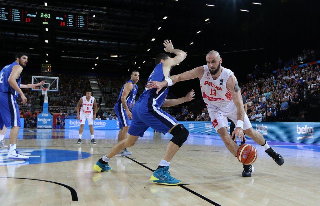 EuroBasket 2015. Polska - Izrael. Z piłką Marcin Gortat