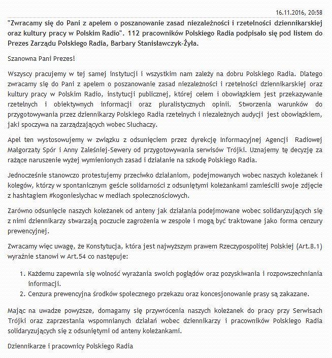 Pismo pracowników Polskiego Radia