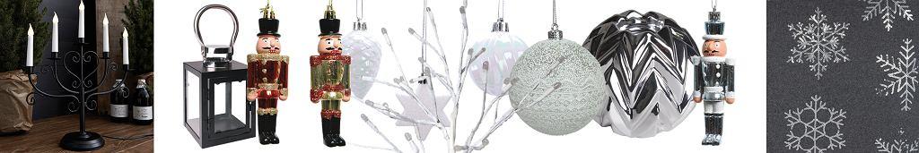 Czarno-białe dekoracje na choinkę