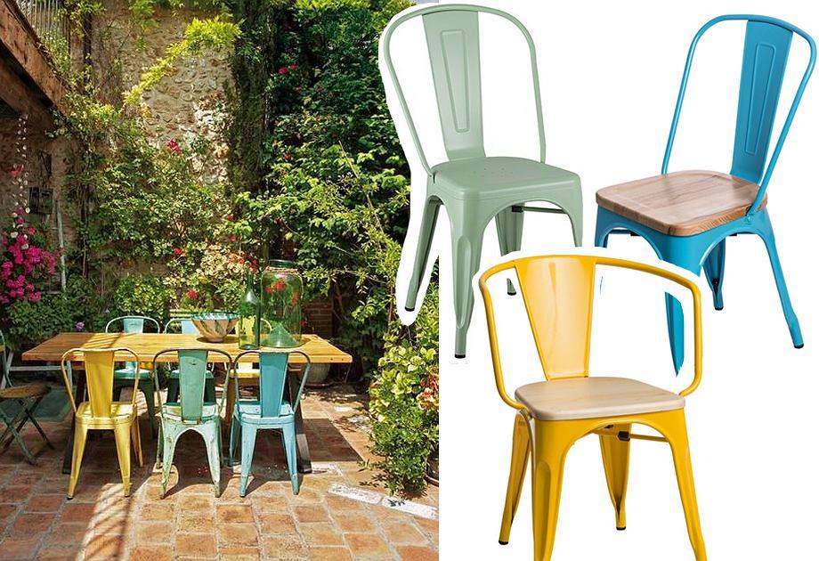 Kolorowe krzesła z metalu