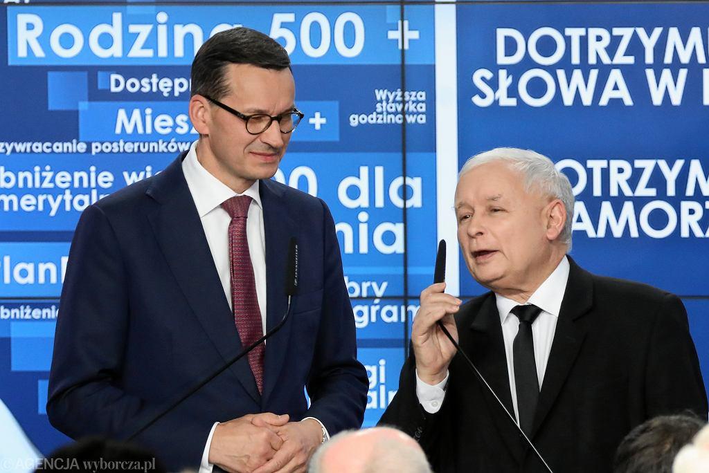 21.10.2018 Warszawa. Premier Mateusz Morawiecki i prezes partii Prawo i Sprawiedliwość Jarosław Kaczyński.
