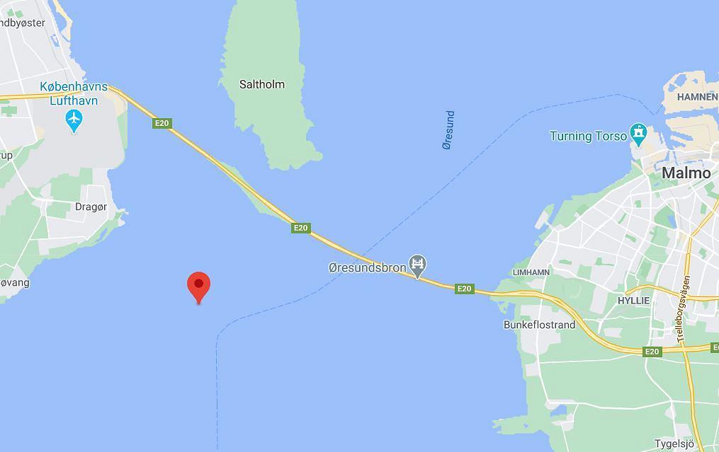Prawdopodobne miejsce kolizji statków