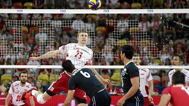 Mateusz Bieniek podczas meczu Polska - Iran