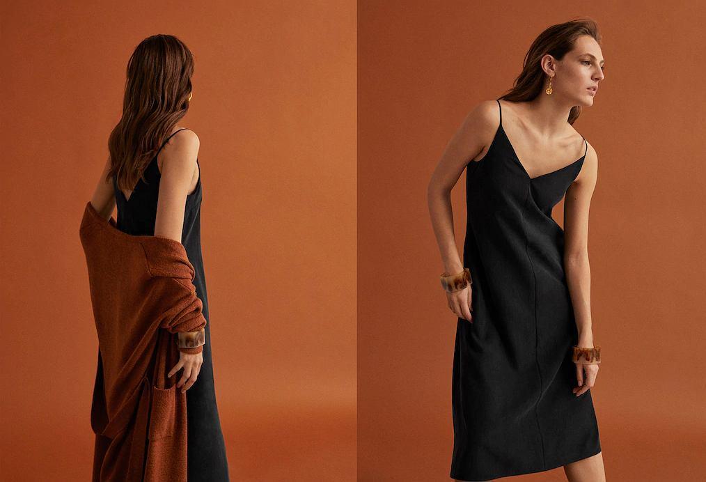 ea8e9ab780 Sukienka na cienkich ramiączkach Mango