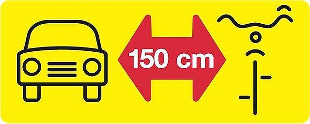 150 centymetrów dla rowerzysty