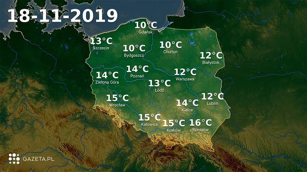 Pogoda na dziś - poniedziałek 18 listopada.