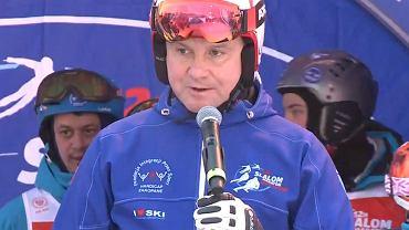 Prezydent Andrzej Duda na charytatywnym '12H Slalom Maraton Zakopane 2019'