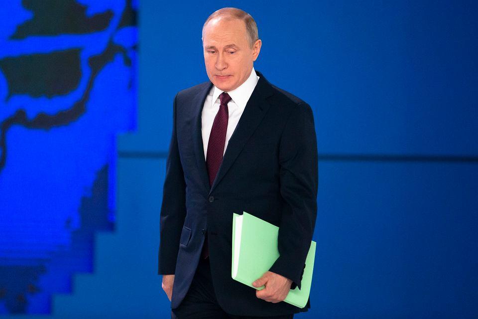 Prezydent Władimir Putin wygłaszając doroczne rytualne orędzie próbował nastraszyć Zachód potencjałem militarnym Rosji. Moskwa, 20 lutego 2019 r.
