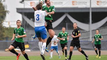 Dominik Bednarczyk (nr 3). Mecz Stal Rzeszów - Górnik Łęczna 2:1 (Puchar Polski)