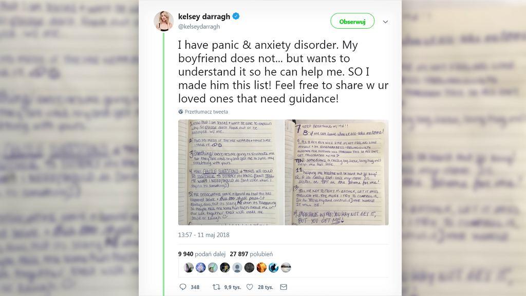 Aktorka przygotowała dla swojego chłopaka listę.