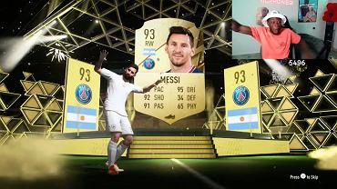 Reakcja Alphonso Daviesa na wylosowanie karty Messiego w FIFA 22