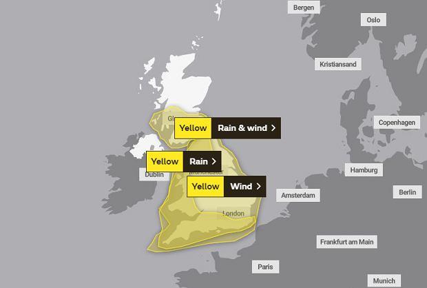 Ostrzeżenia meteorologiczne dla Wielkiej Brytanii na sobotę 15 lutego