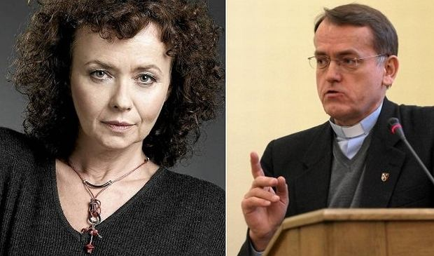 Aktorka Joanna Szczepkowska i ks. Dariusz Oko