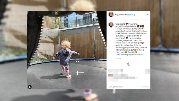 Olga Frycz pokazała, jak jej córka bawi się na trampolinie. Fanki: Czy tak małe dziecko może już skakać? Pytamy fizjoterapuetę