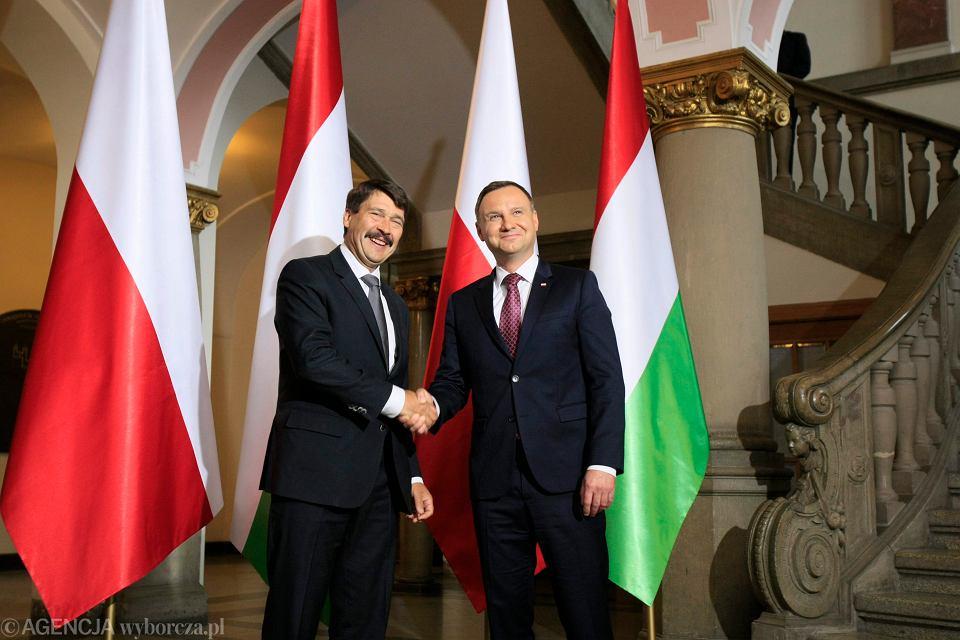 Andrzej Duda i prezydent Węgier Janos Ader podczas obchodów Poznańskiego Czerwca 56. Poznań, 28 czerwca 2016 r.