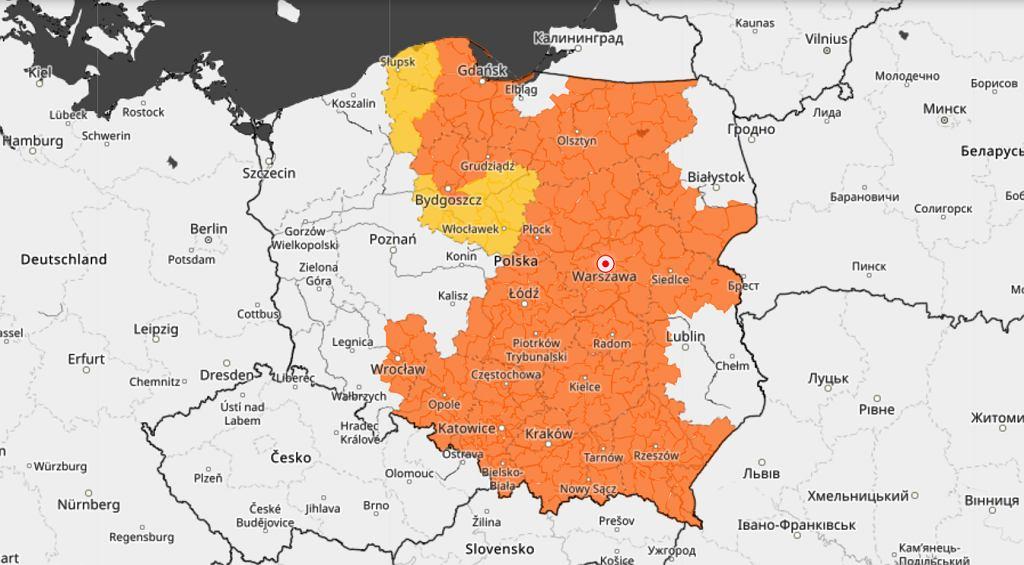 Mapa zagrożeń pogodowych IMGW na 7 lipca 2021 roku